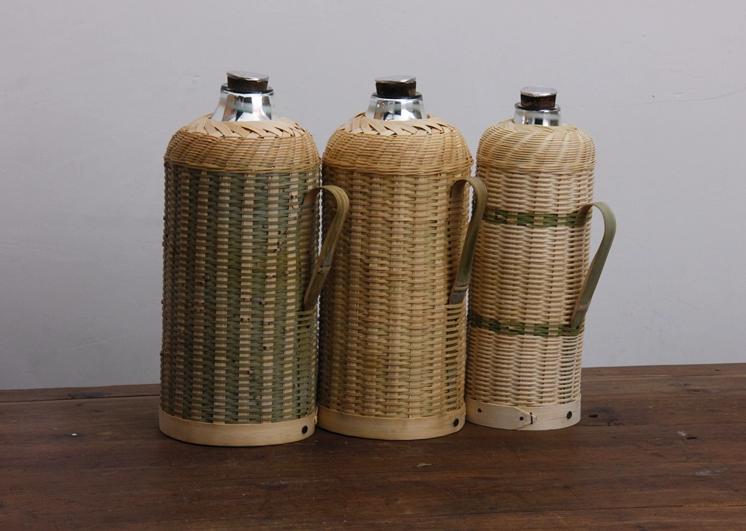 个性水瓶_手工编织复古竹编暖水壶工艺品- 中国风
