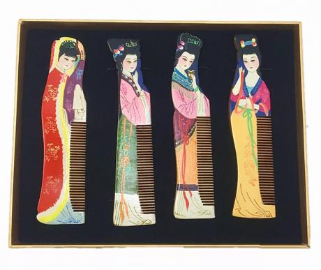 四大美女工艺彩绘木梳子