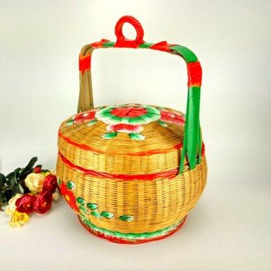 手工竹编竹篮,手绘彩绘礼品篮
