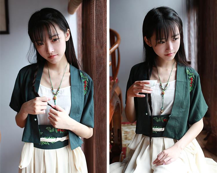 中国风绣花日常汉元素对襟短款