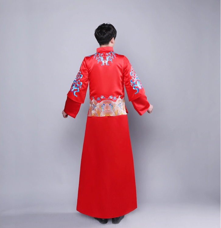 改良刺绣中山装中式新郎礼服