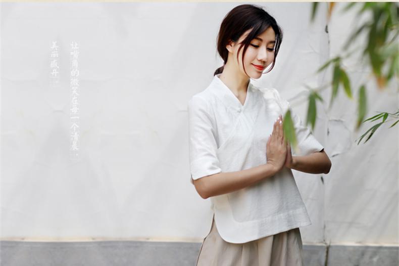 中式茶艺服装盘扣上衣改良唐装