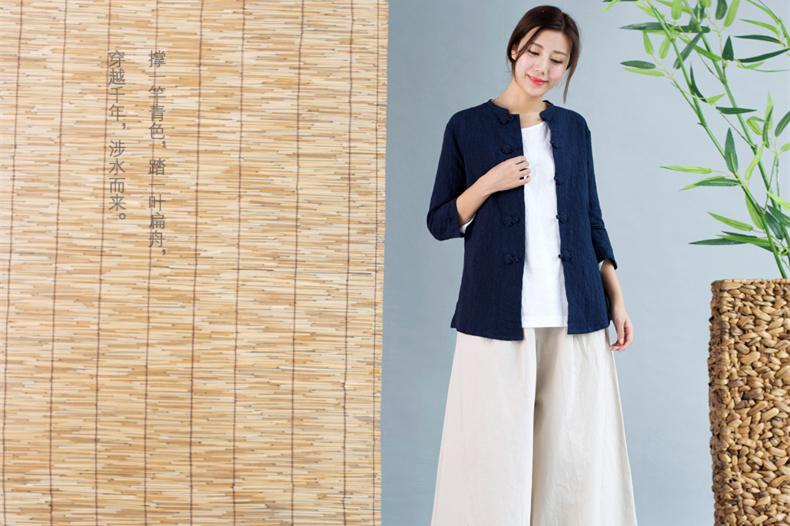 中国风唐装女外套七分袖中式茶