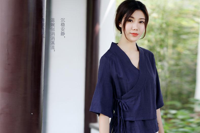 中式复古茶服汉元素交领女夏上