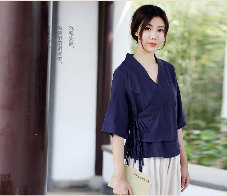 中式复古茶服汉元素交领女夏上衣