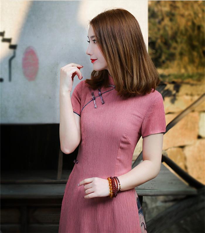 夏改良旗袍长款短袖修身中式旗袍连衣裙