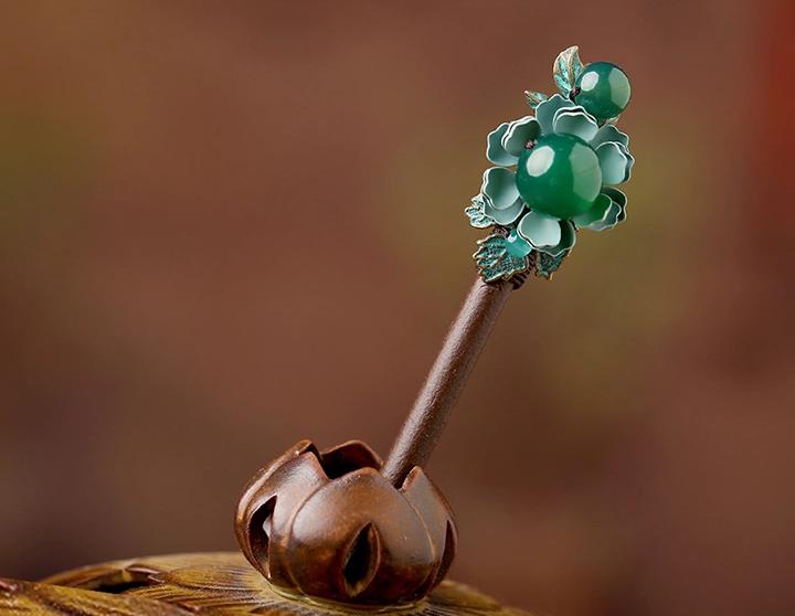古典金属花朵绿玛瑙饰品民族风簪子