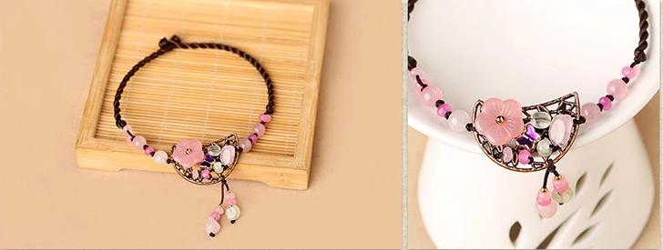 粉色简约脚链饰品彩玉水晶装饰配饰
