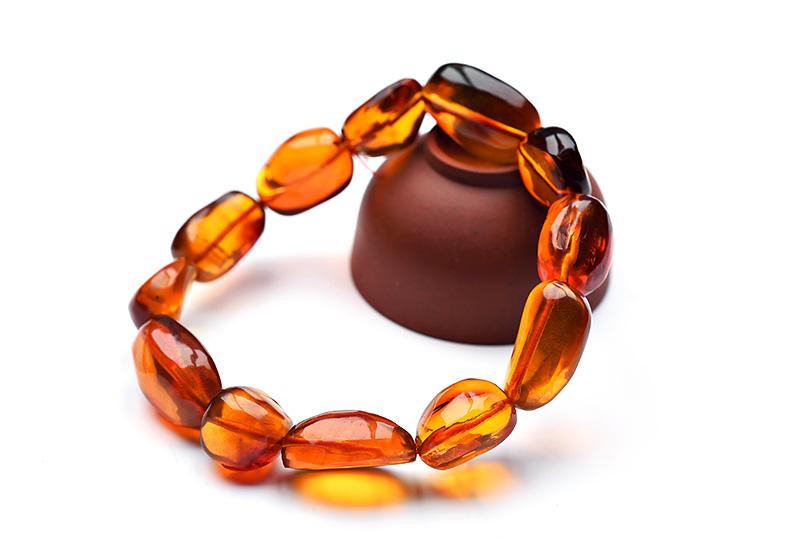 天然金棕珀琥珀不规则形状手链
