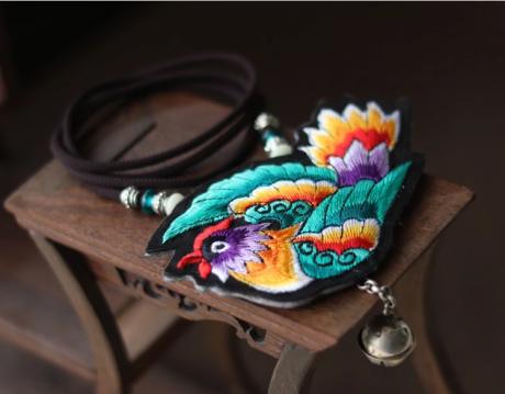民族风刺绣灵雀长款挂件挂饰配饰