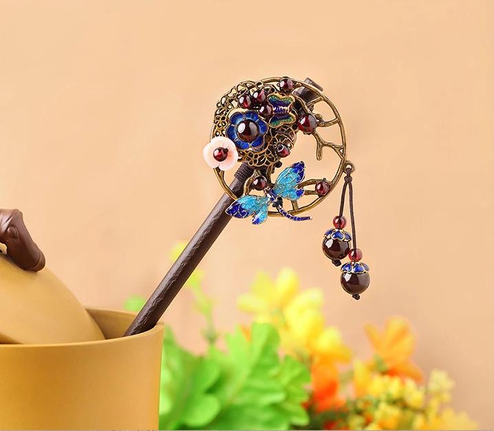 中国风石榴石古典木簪子头饰