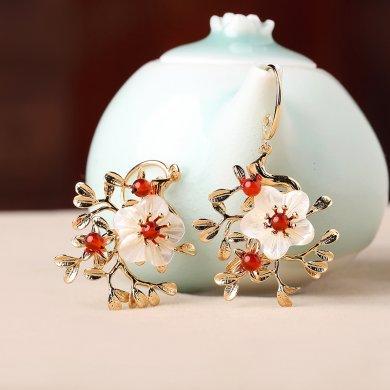 中国风复古气质花朵耳坠耳环饰品