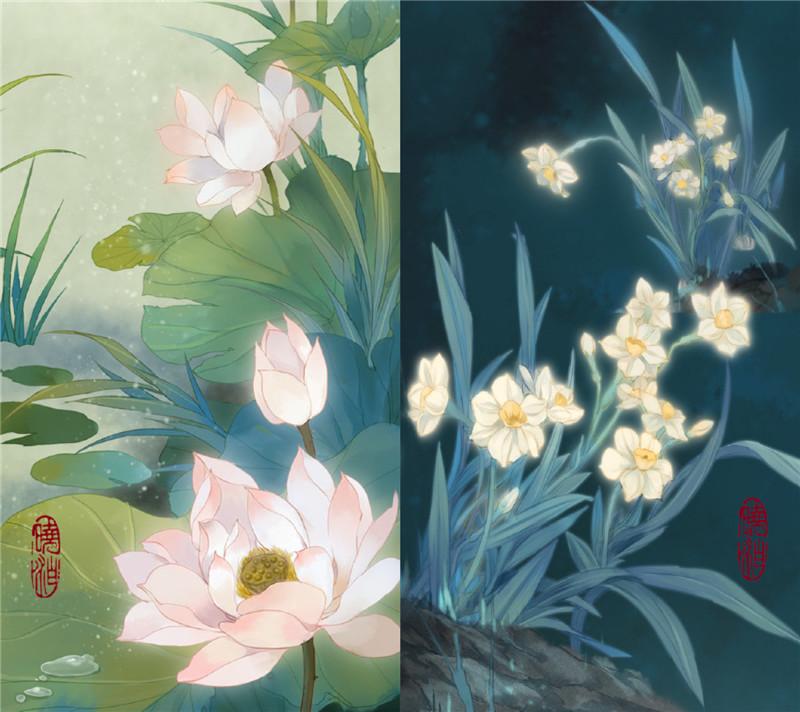 古风图片晓泊绘画的花签