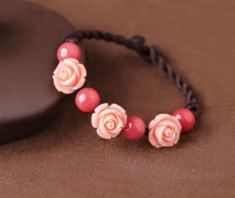 中国风手工编织玫瑰花手链