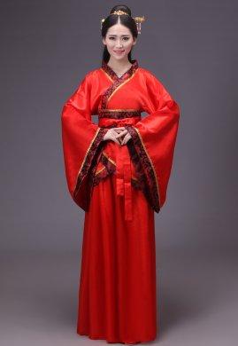 经典中国红汉服古装美女