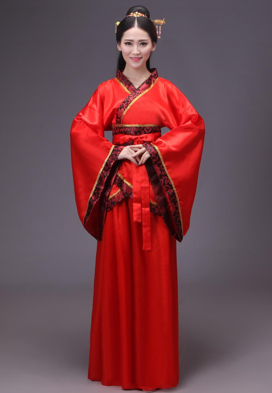 经典中国红汉服古装美女图片