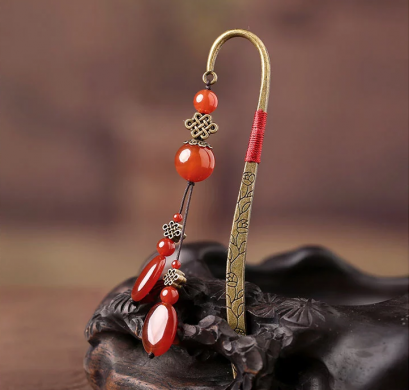 荐古典中国风红玛瑙流苏书签