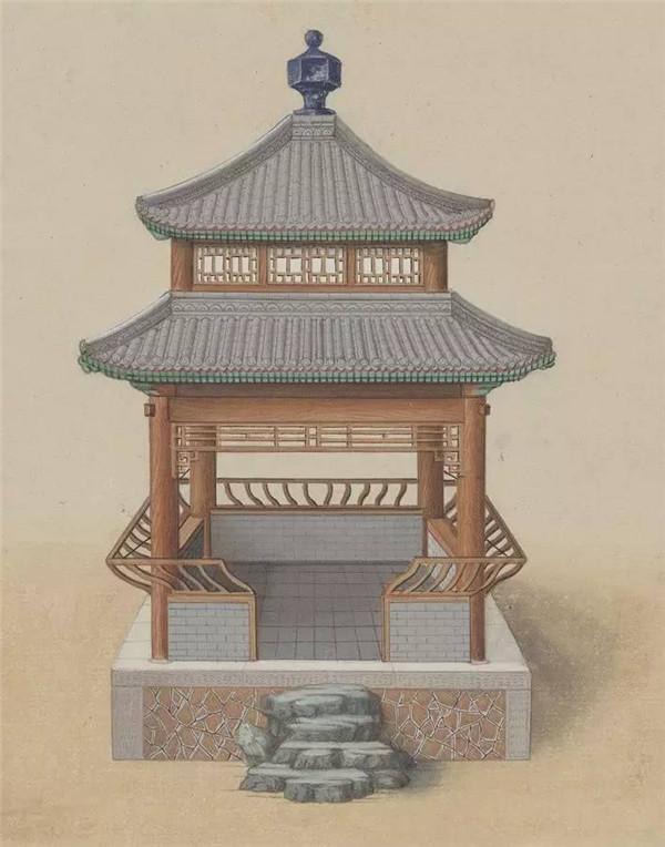 八角亭图片_中国传统建筑亭的手绘系列- 中国风