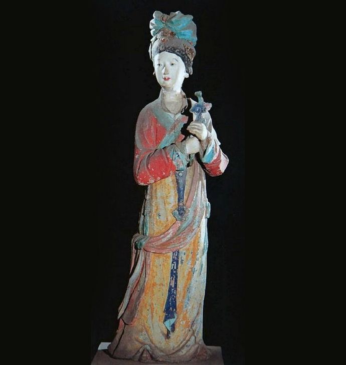晋祠圣母殿侍女彩塑像