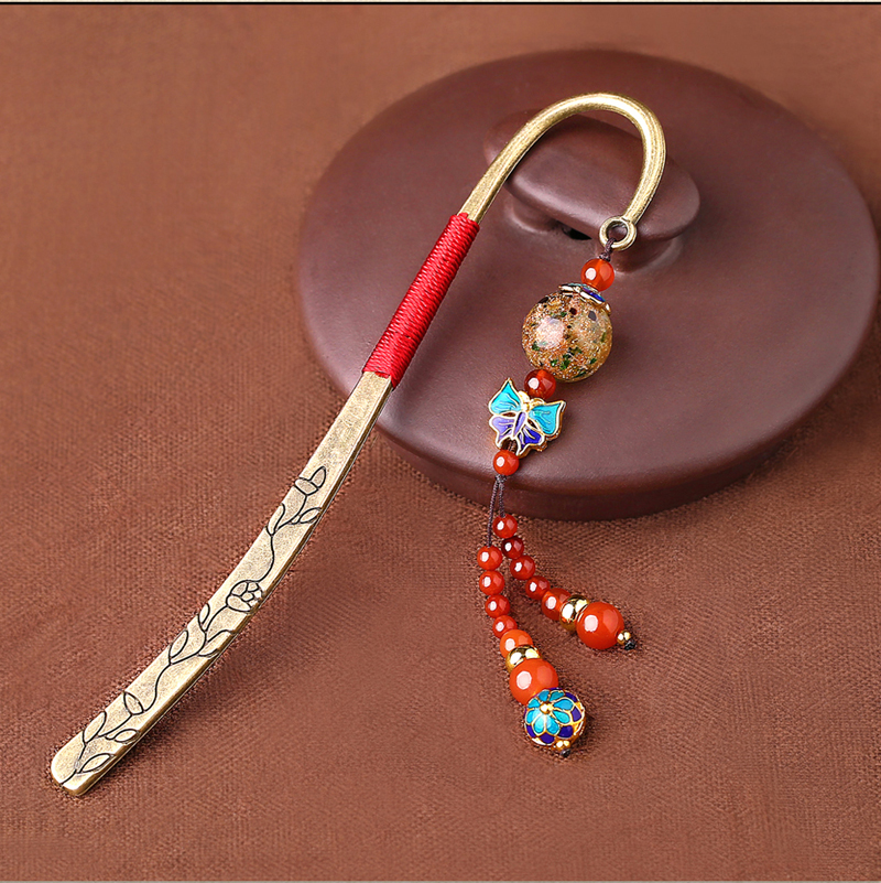 中国风古典复古金属玛瑙流苏书签