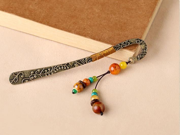 民族风古典复古金属玛瑙书签
