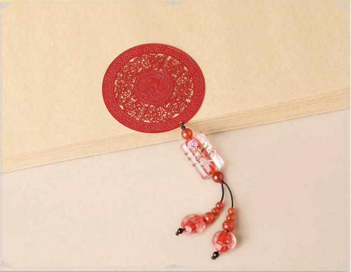 中国风古典红色古风金属小清新书签