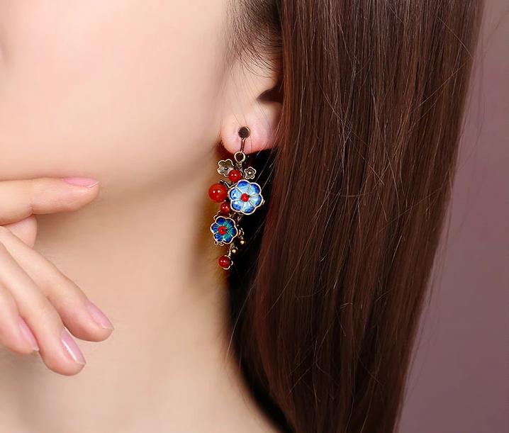 景泰蓝小花民族风复古气质首饰玛瑙耳环