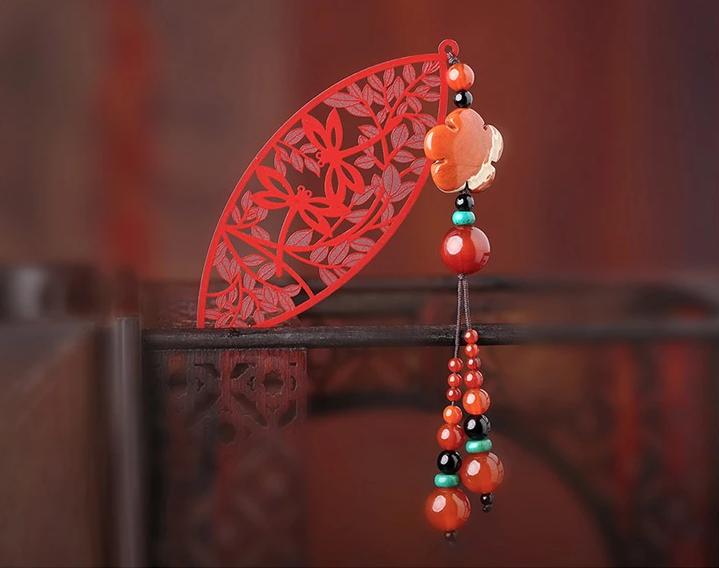 古典中国风镂空古风红色叶子书签