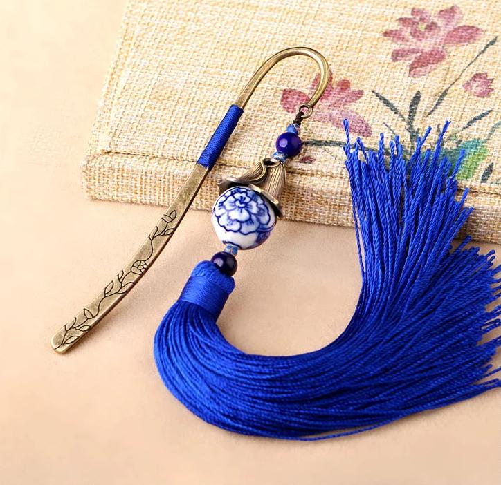 中国风手绘青花瓷古风蓝色流苏书签