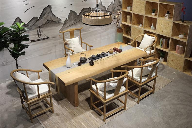 复古纯实木茶桌椅组合,仿古简约