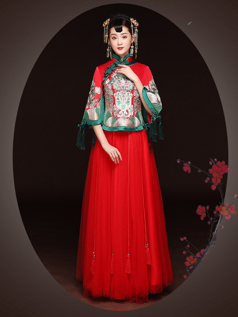 秋季新款红色敬酒服,改良旗袍长款