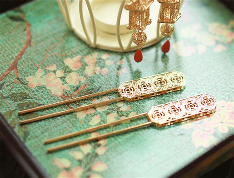 新娘中式金色流苏发饰,古装发梳步摇