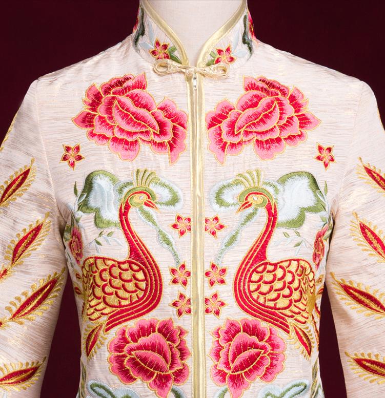 刺绣凤凰白色中式嫁衣,结婚敬酒服旗袍修身