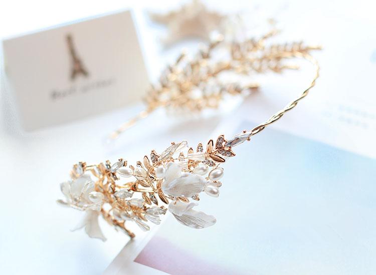 水晶头花发箍头饰,精美金色古典发饰