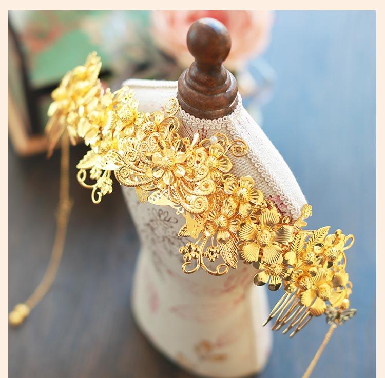 中式新娘精美头饰,金色发饰套装步摇凤冠