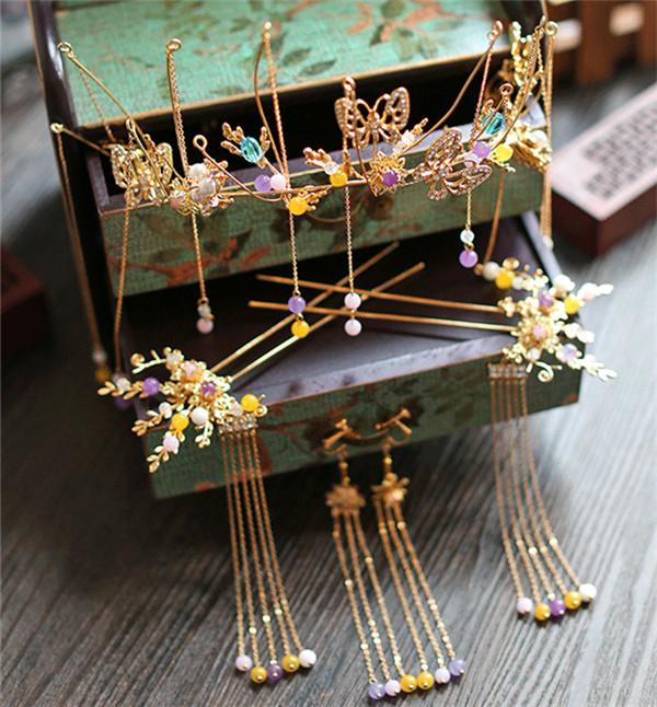 中式古典纯手工发饰,婚礼头饰蝴蝶彩珠