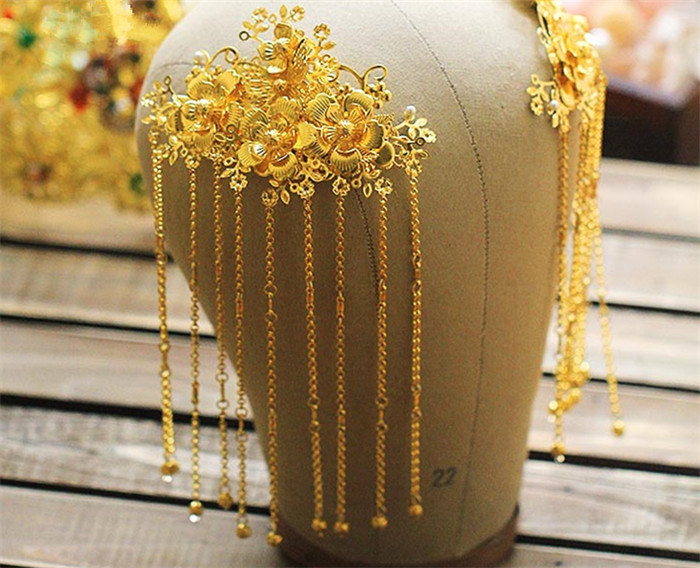 新娘古装头饰翠霞,中式婚礼发饰
