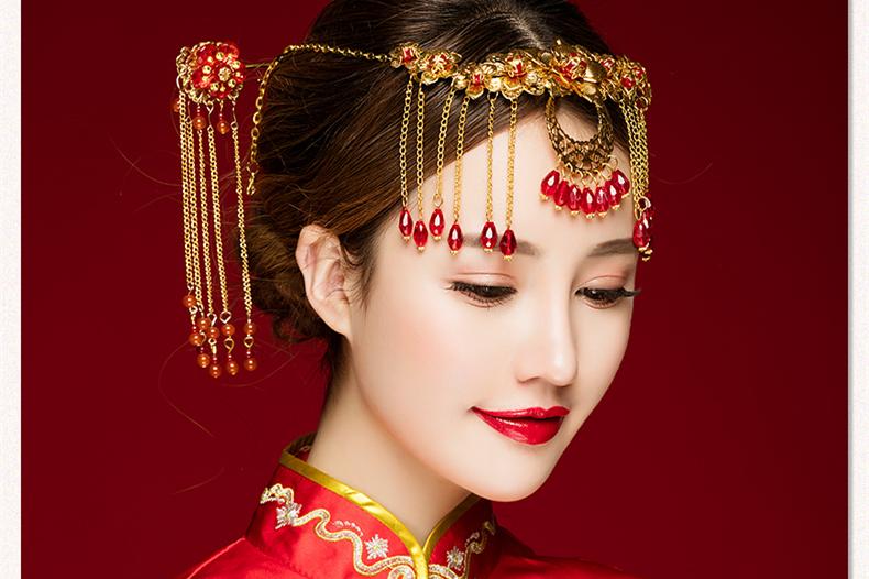 中式古典步摇额饰,优雅高贵眉