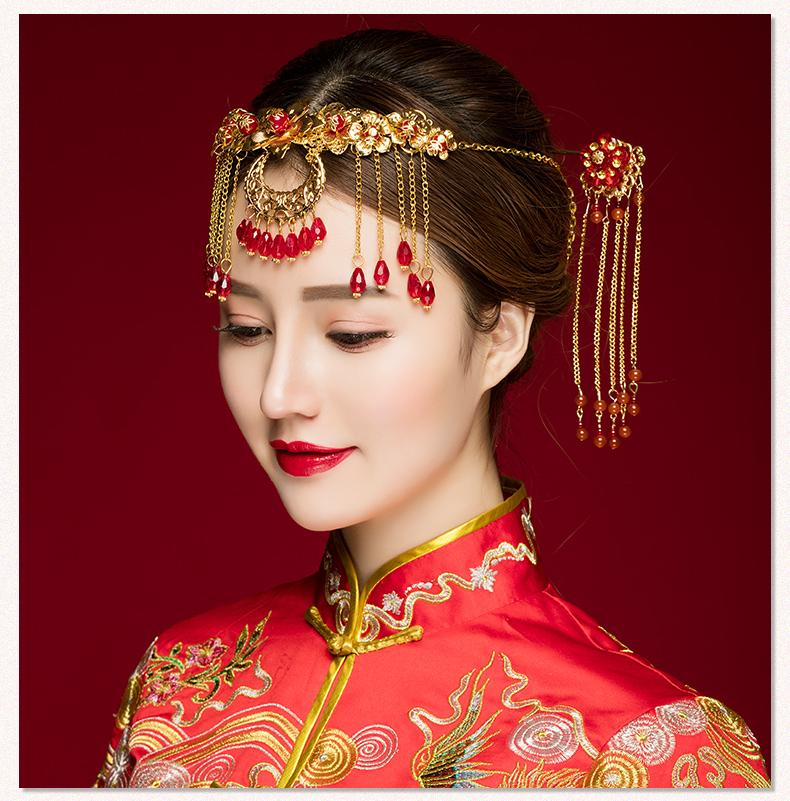 中式古典步摇额饰,优雅高贵眉心坠