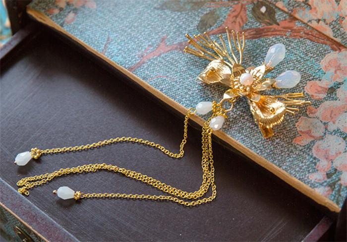 古玉串珠中式流苏头饰,新娘古装发饰套装