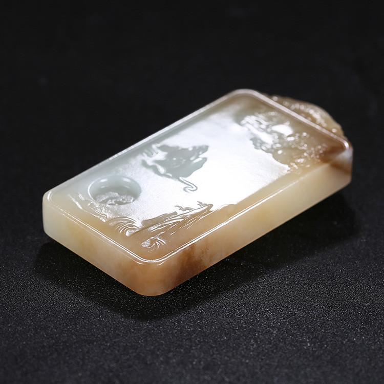 神龙送福人间山水玉牌挂件,天然糖白玉项链