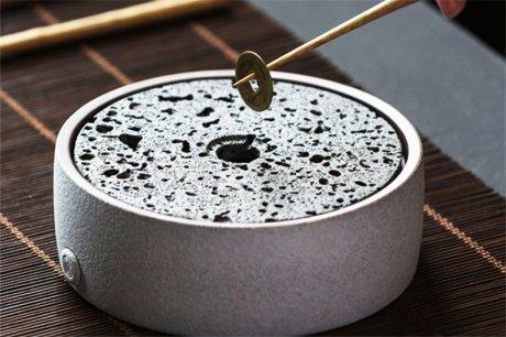 火山石小壶承天然岩石圆形茶托