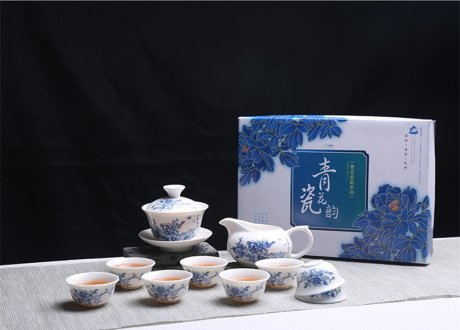 青花瓷茶具套装礼盒,家用白瓷