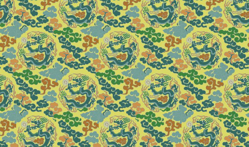 中国传统织锦图案,织锦服饰金龙祥云图案