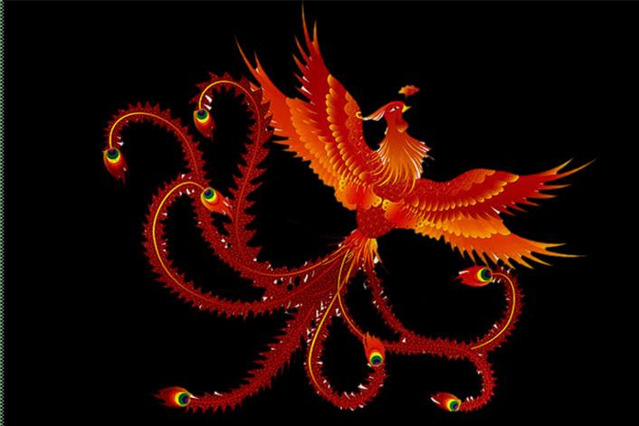 中华神兽凤凰精致高贵纹饰图案