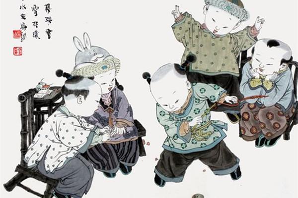 著名中国画家王家训的筒子嬉戏