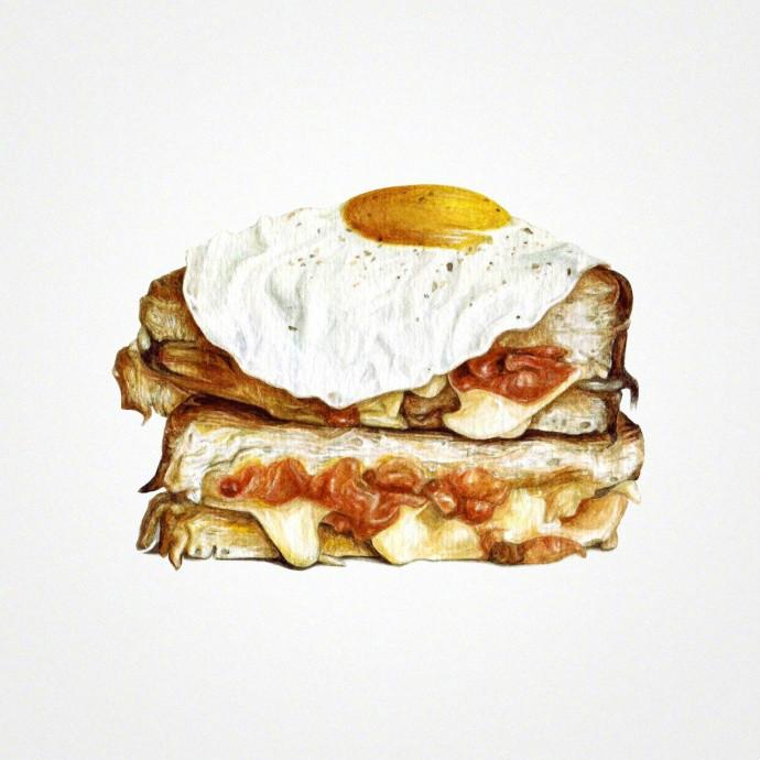 超逼真的彩铅手绘插画美食图片