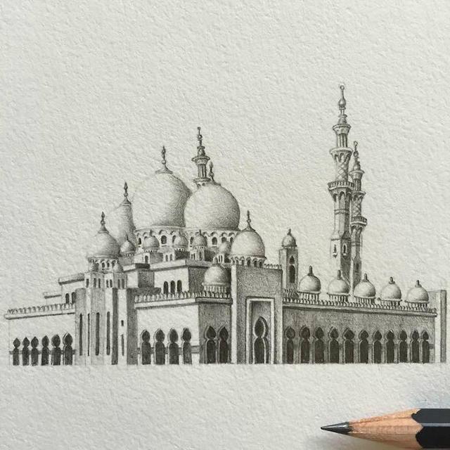 建筑铅笔手绘插画图片
