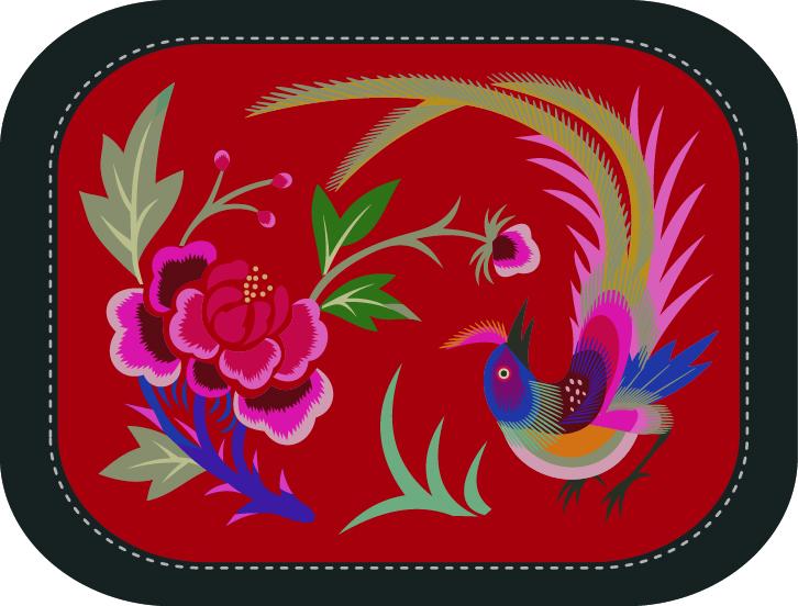 精美的鸟语花香系列刺绣图案