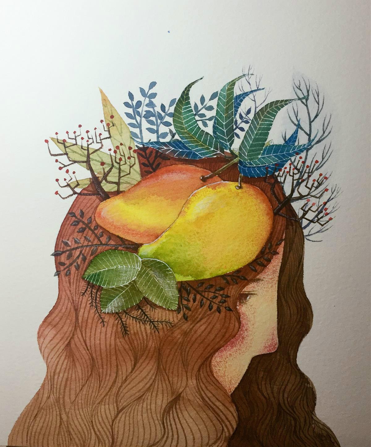 水果主题创意水彩手绘插画